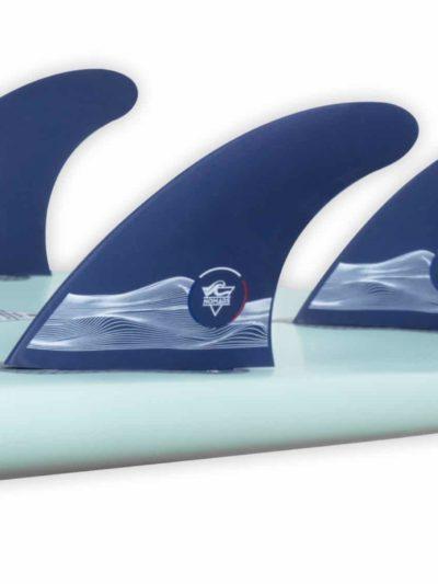 Fins on surfboard
